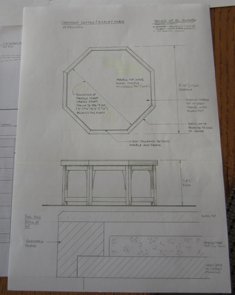 Final drawing for a hexagonal coffee table designed to incorporate a marble top