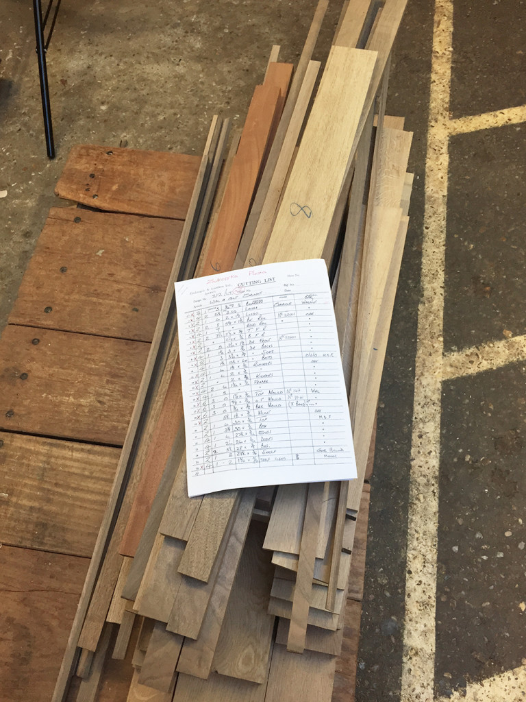 Some timber for a Walnut & Gilt Cabinet, cut ready for our cabinet-makers.