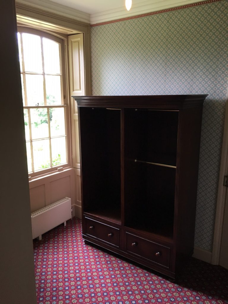 Our wardrobe arriving at Down House, having made its way to the dressing room