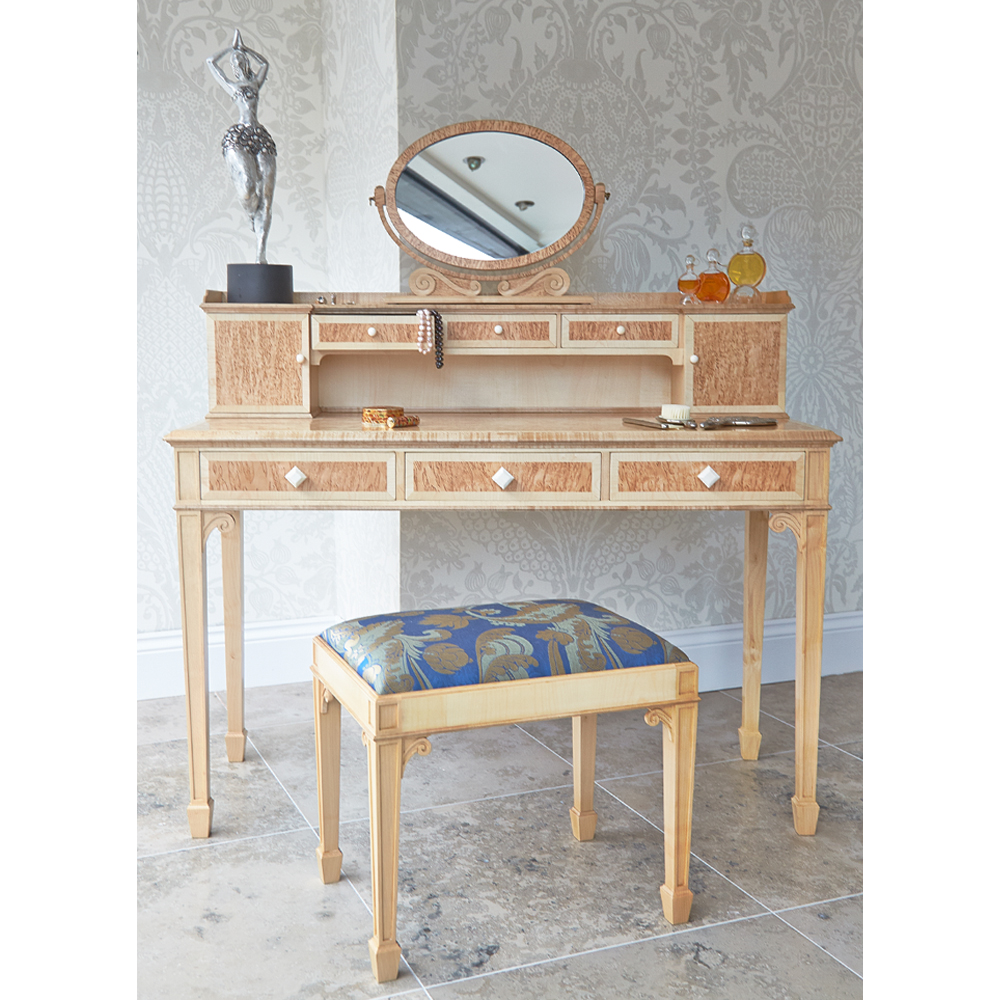 Karelian Birch Ladies Desk/Dressing Table & Mirror
