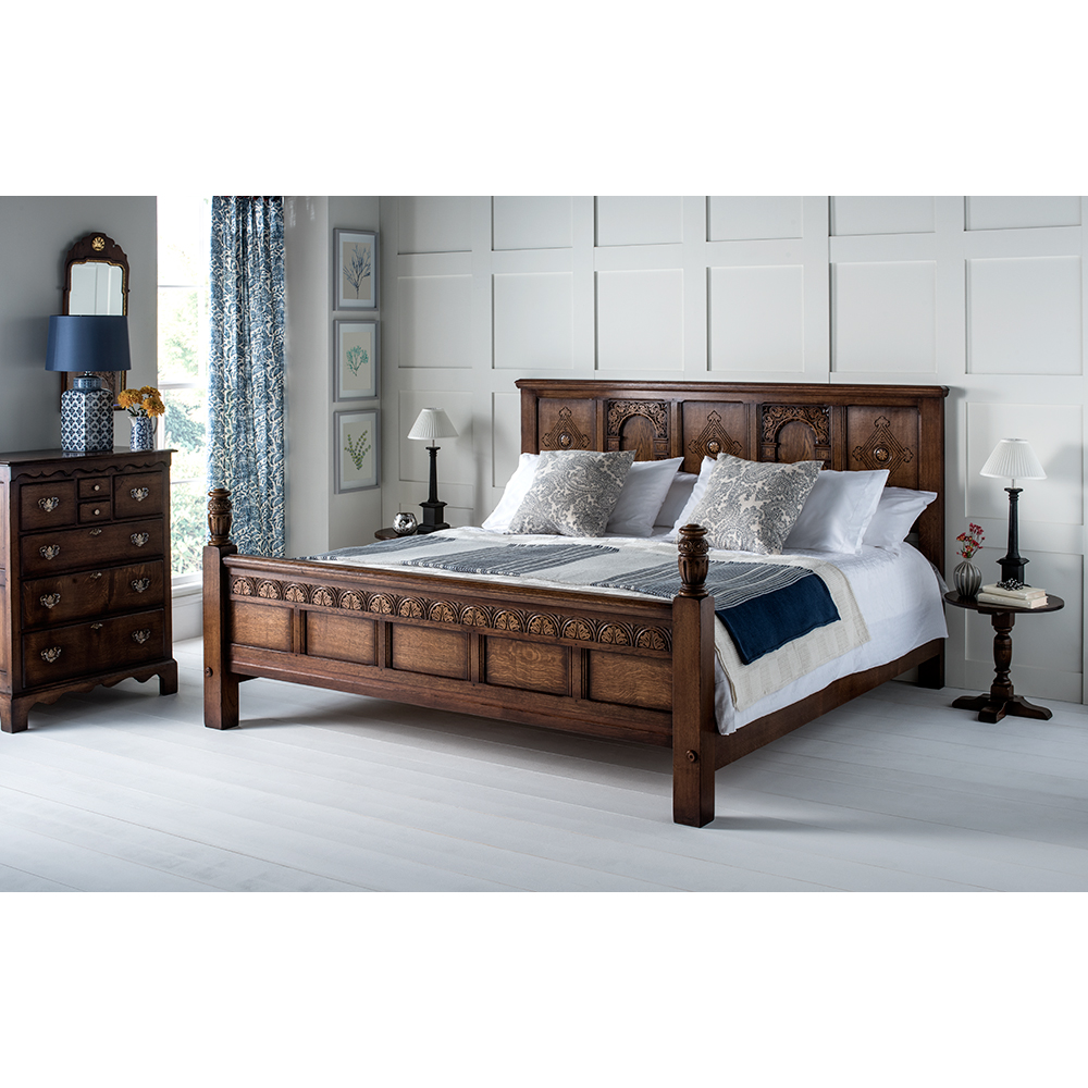 English Oak Jacobean Style Bed Click To Enlarge