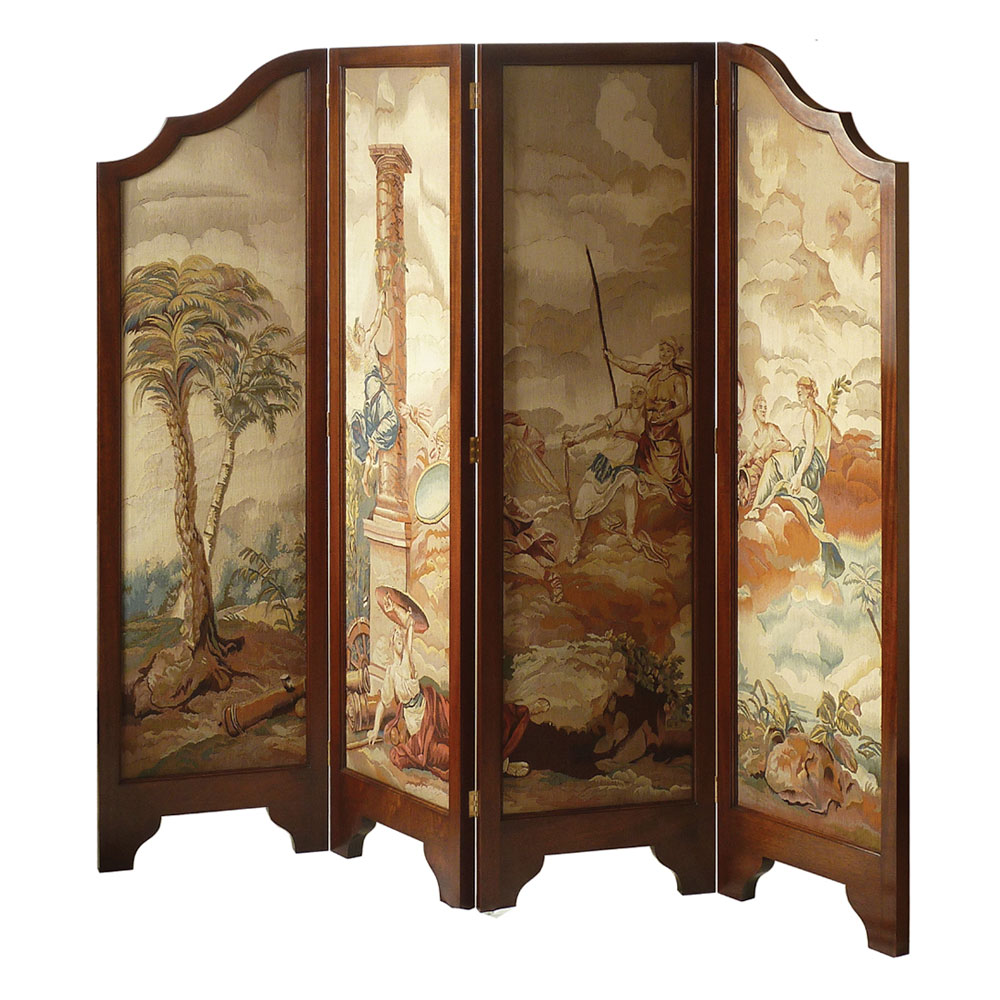 Mahogany 4-Fold Screen