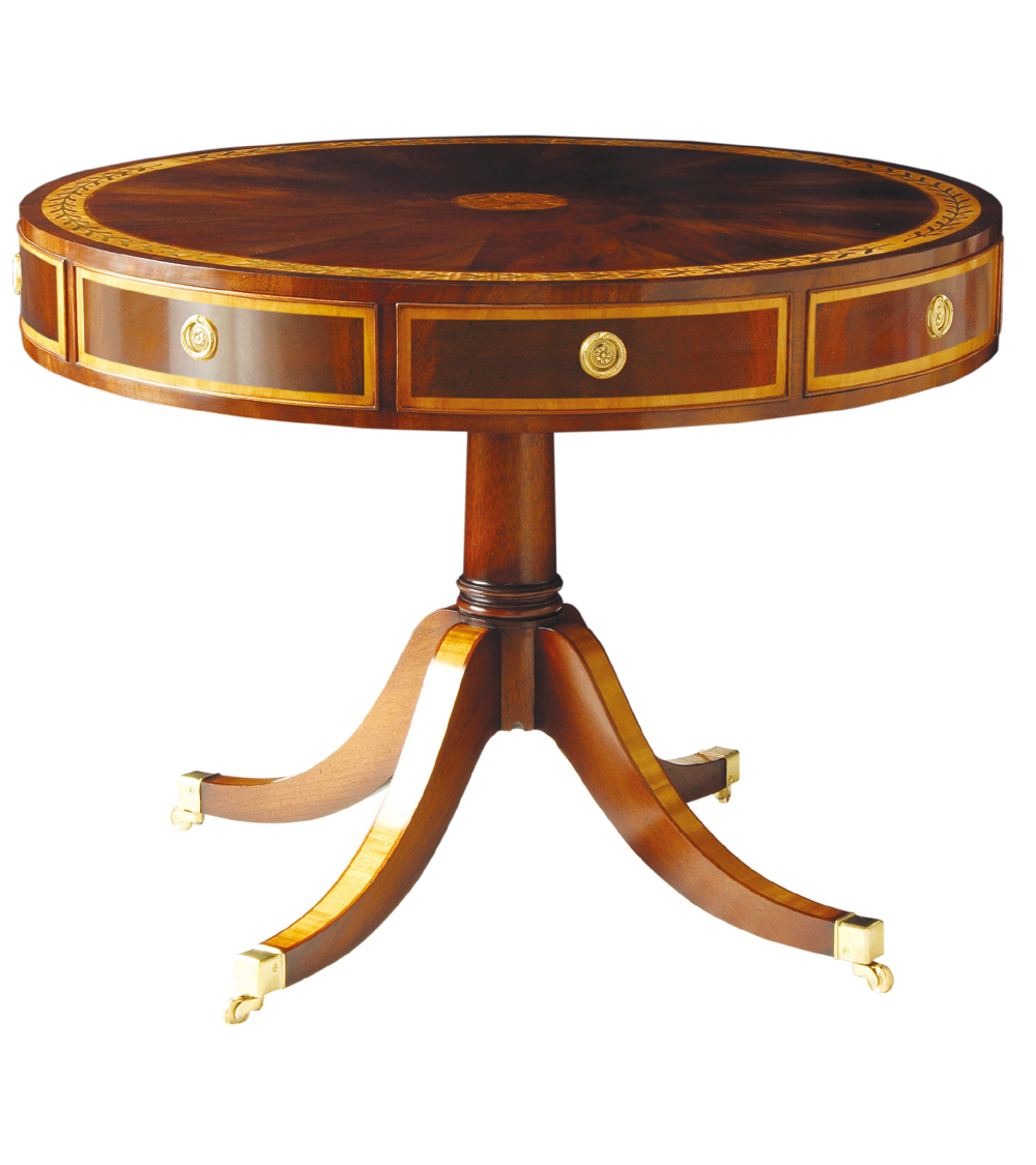 Mahogany & Satinwood Drum Table