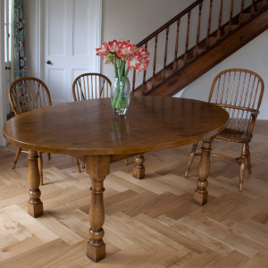 English Oval Oak Dining Table Windsor Stickback Chairs