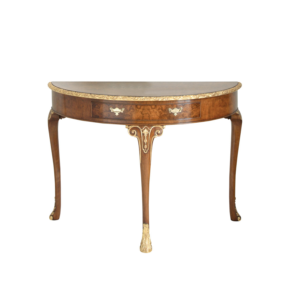 Walnut & Gilt Console Table
