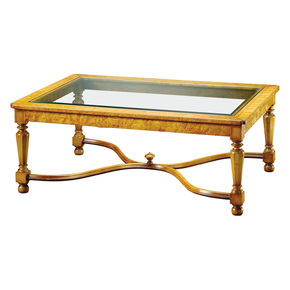 Karelian Birch Coffee Table With Bevelled Glass Top