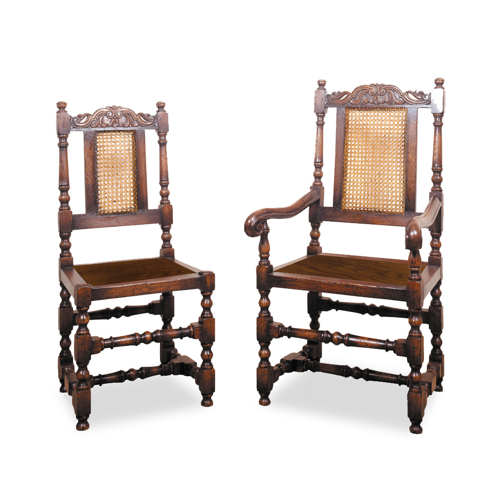 Oak Carolean Chair with Wooden Seat