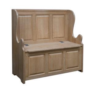 English Oak Panelled Box Settle