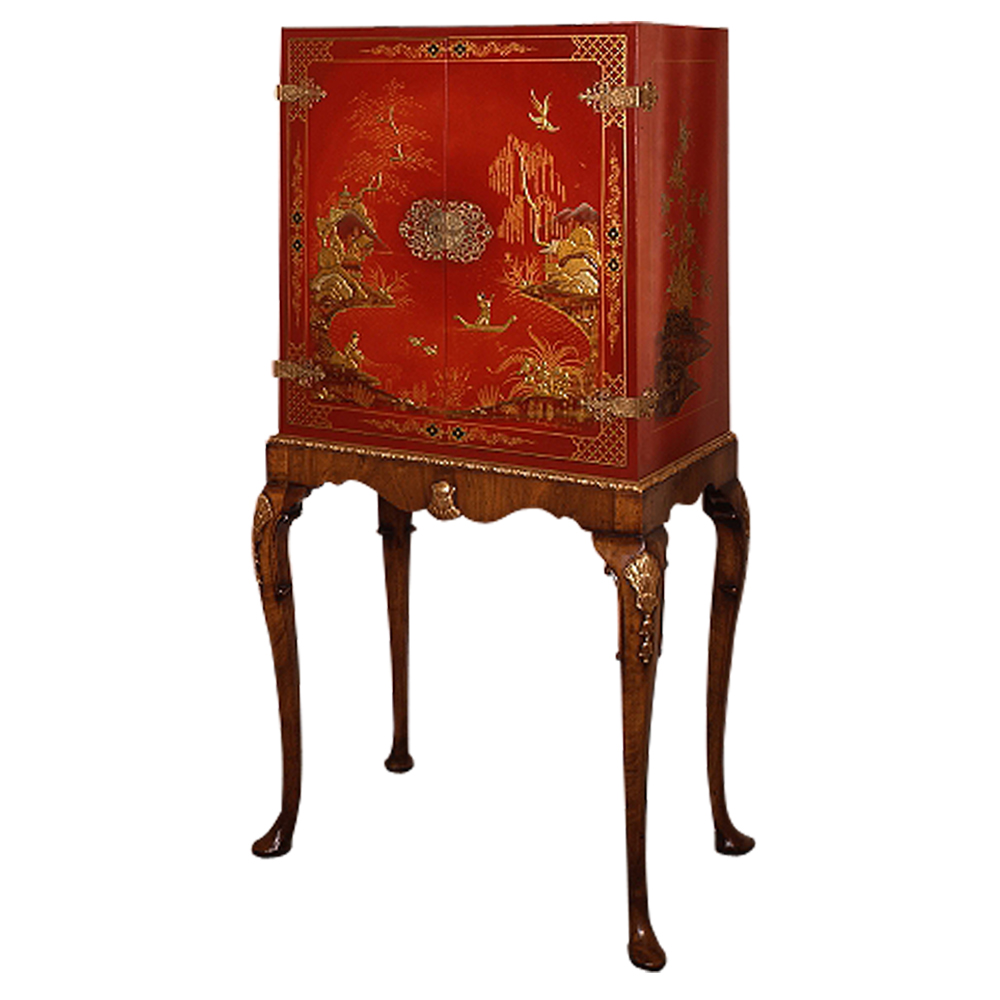 Red Lacquer Cabinet on Walnut & Parcel Gilt Stand