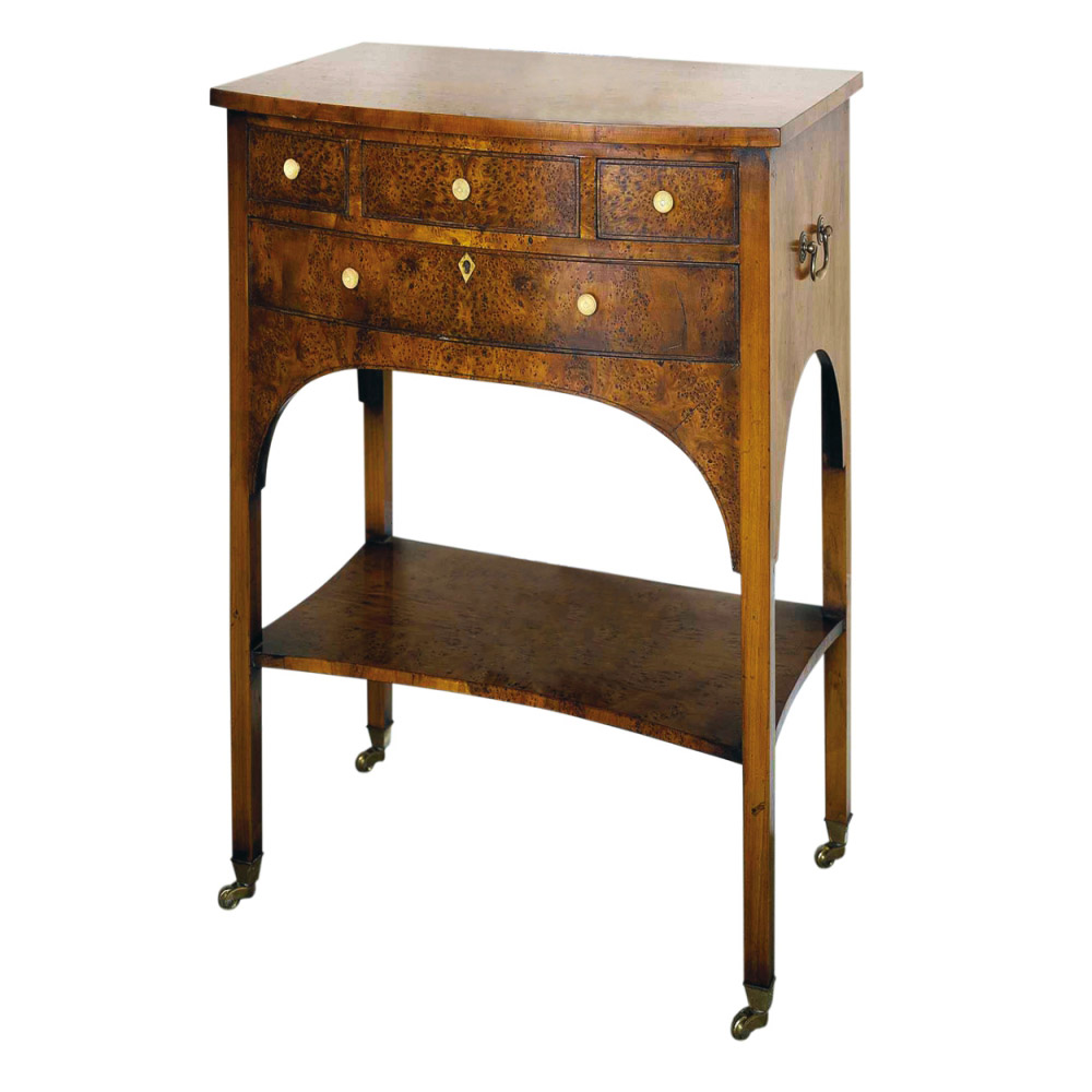Yew Miniature Bow-fronted Side Table