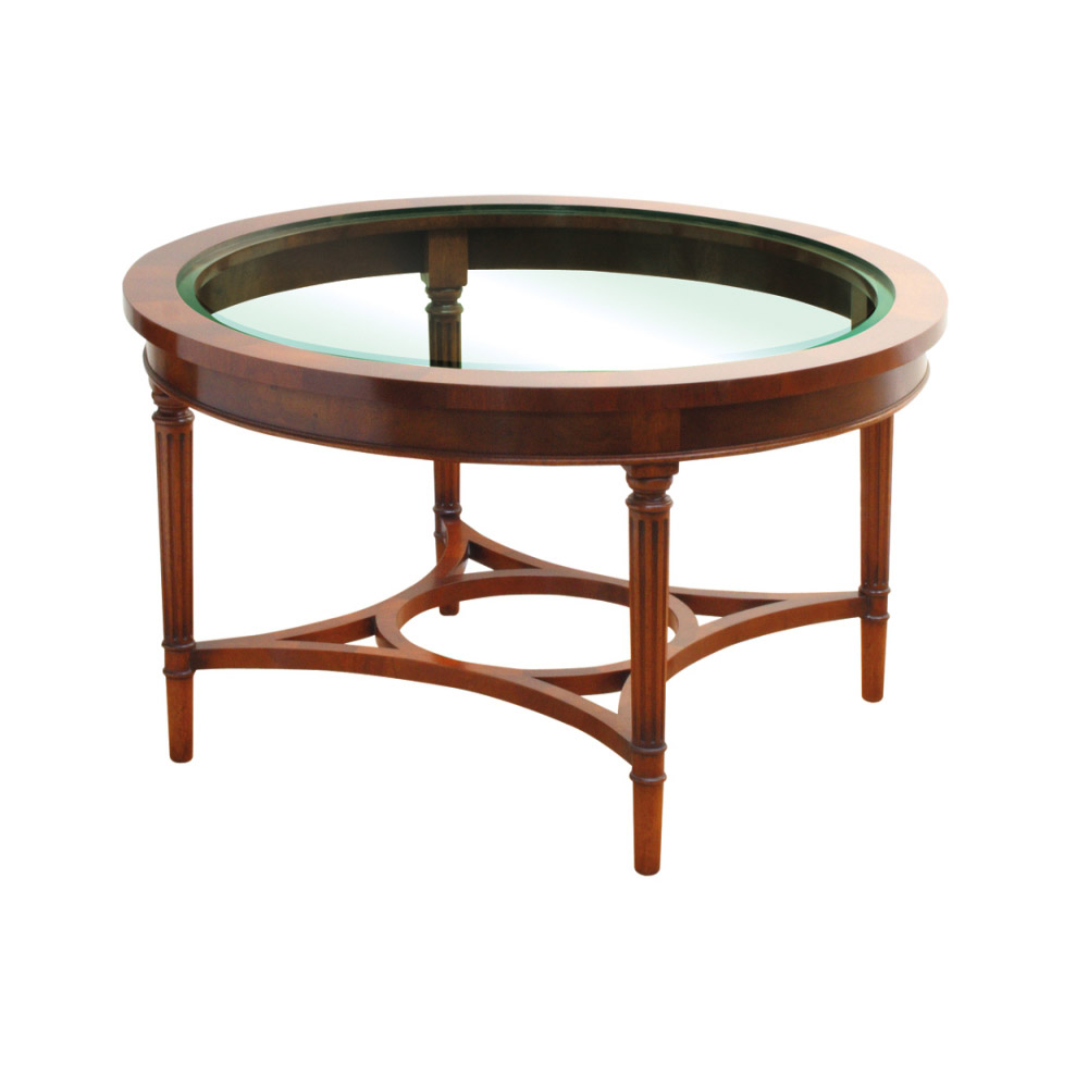 Mahogany circular coffee table with glass top