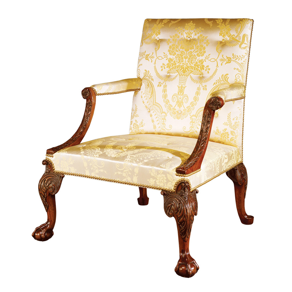 Mahogany Open-Armed Library Chair