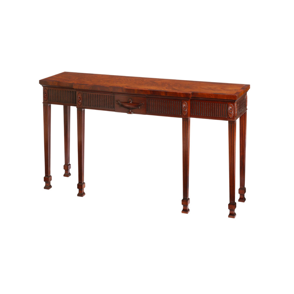 Mahogany Breakfront Sidetable with 4 Concealed Drawers