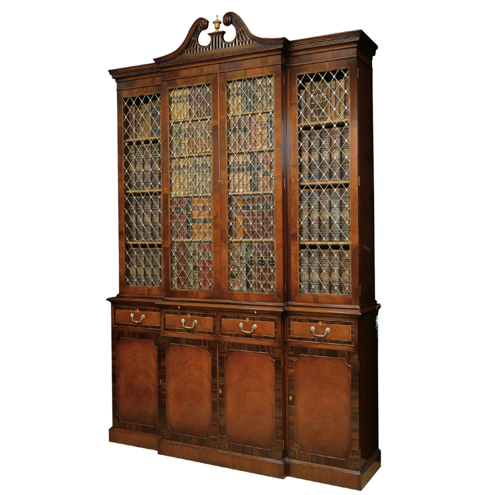 Mahogany Breakfront Bookcase with Rosewood crossbanding