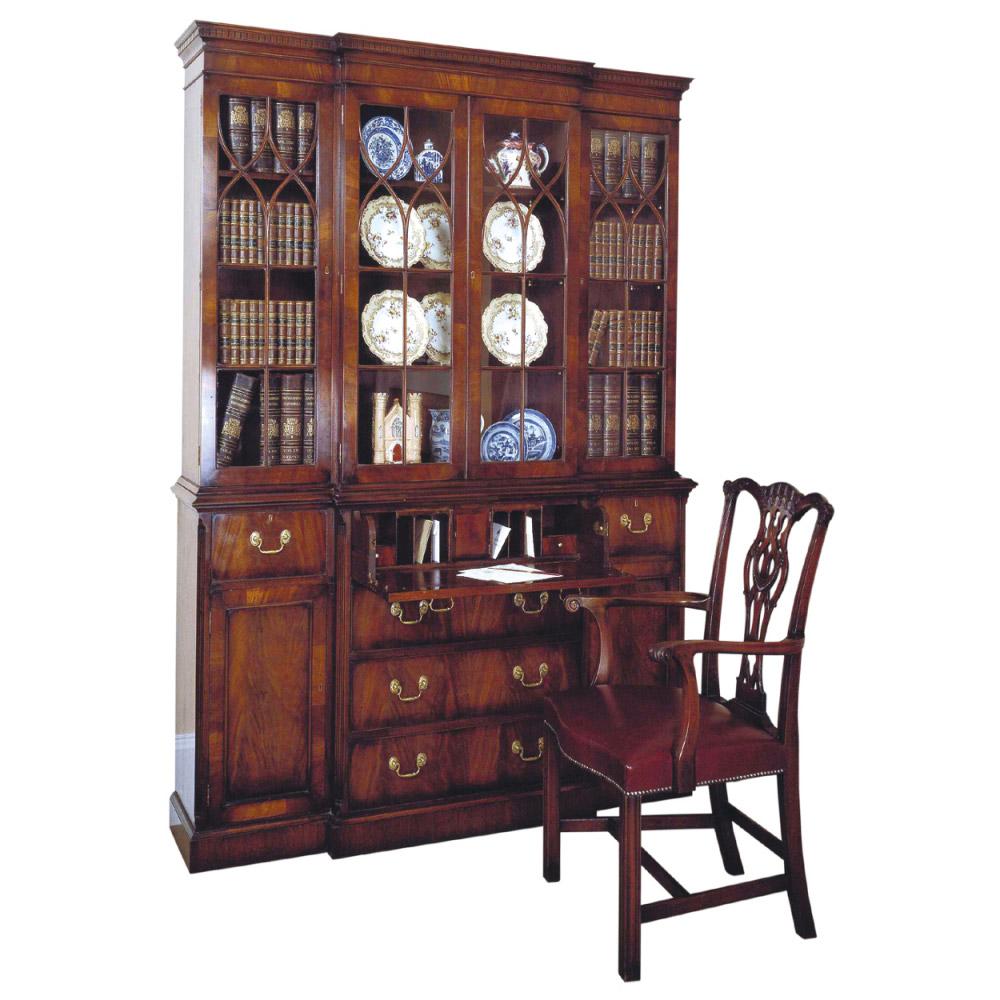 Mahogany Breakfront Secretaire Bookcase & Mahogany Chippendale Armchair