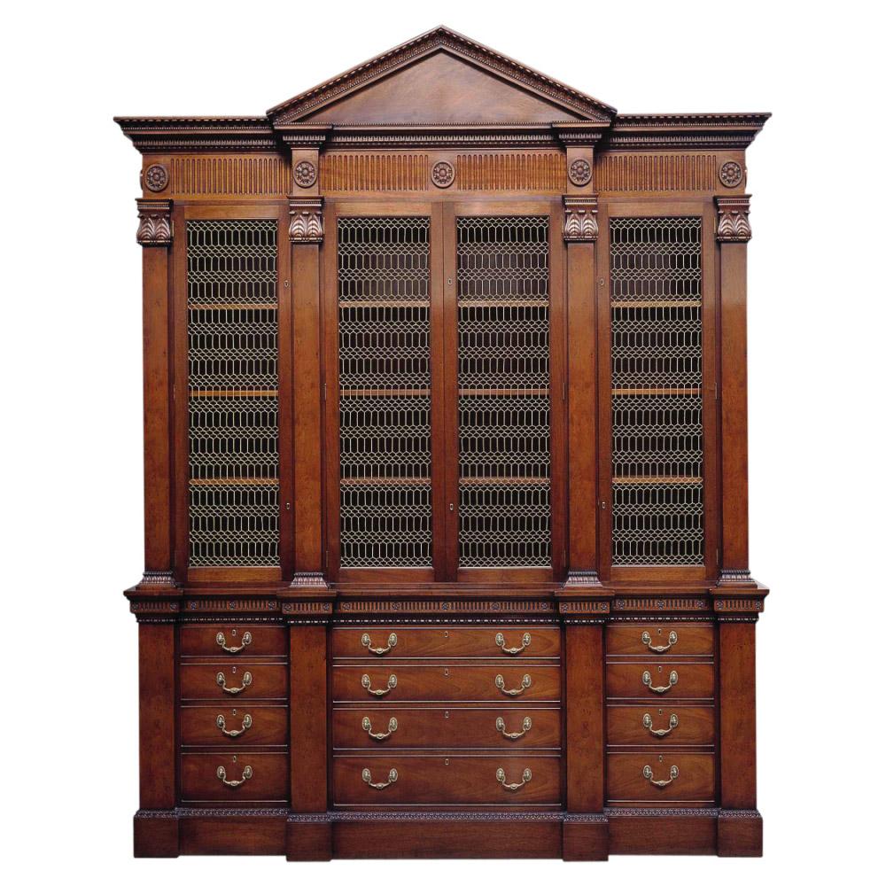 Mahogany Neo-Classical Breakfront Library Bookcase