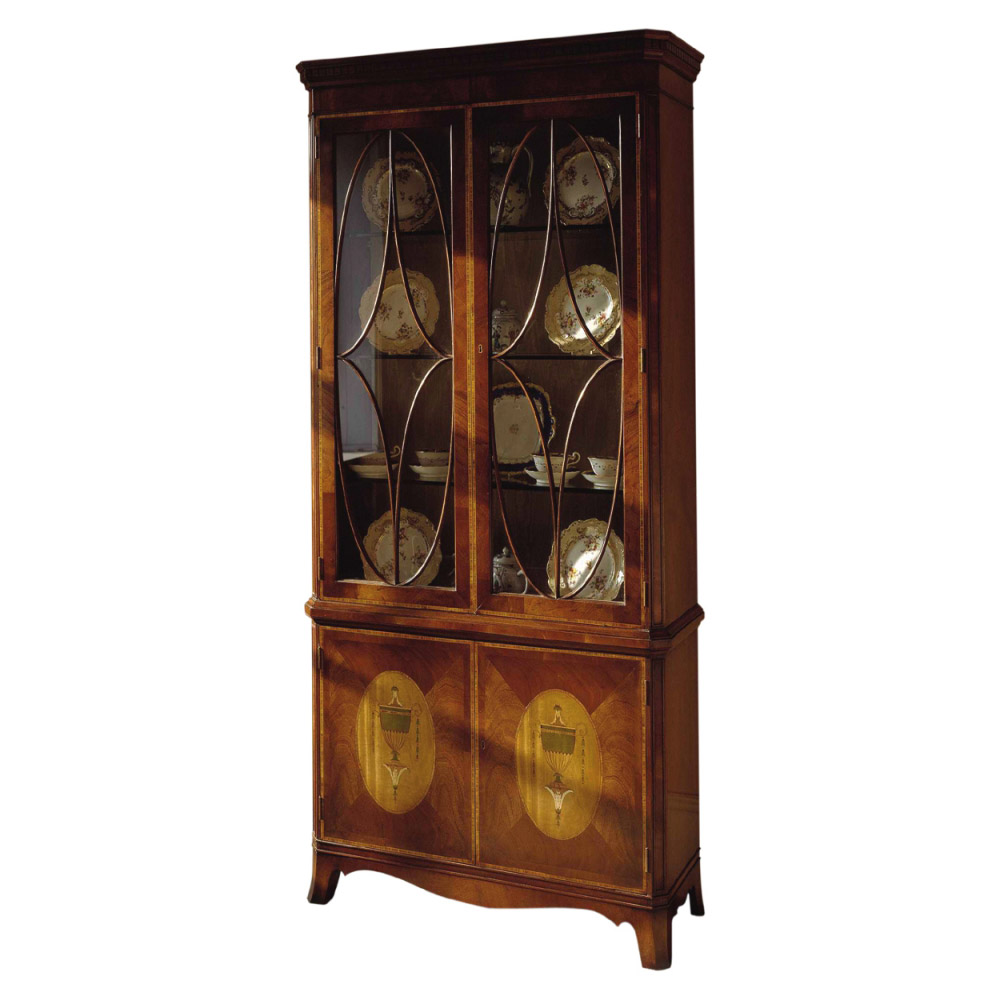 Mahogany Display Cabinet with Satinwood marquetry oval panels