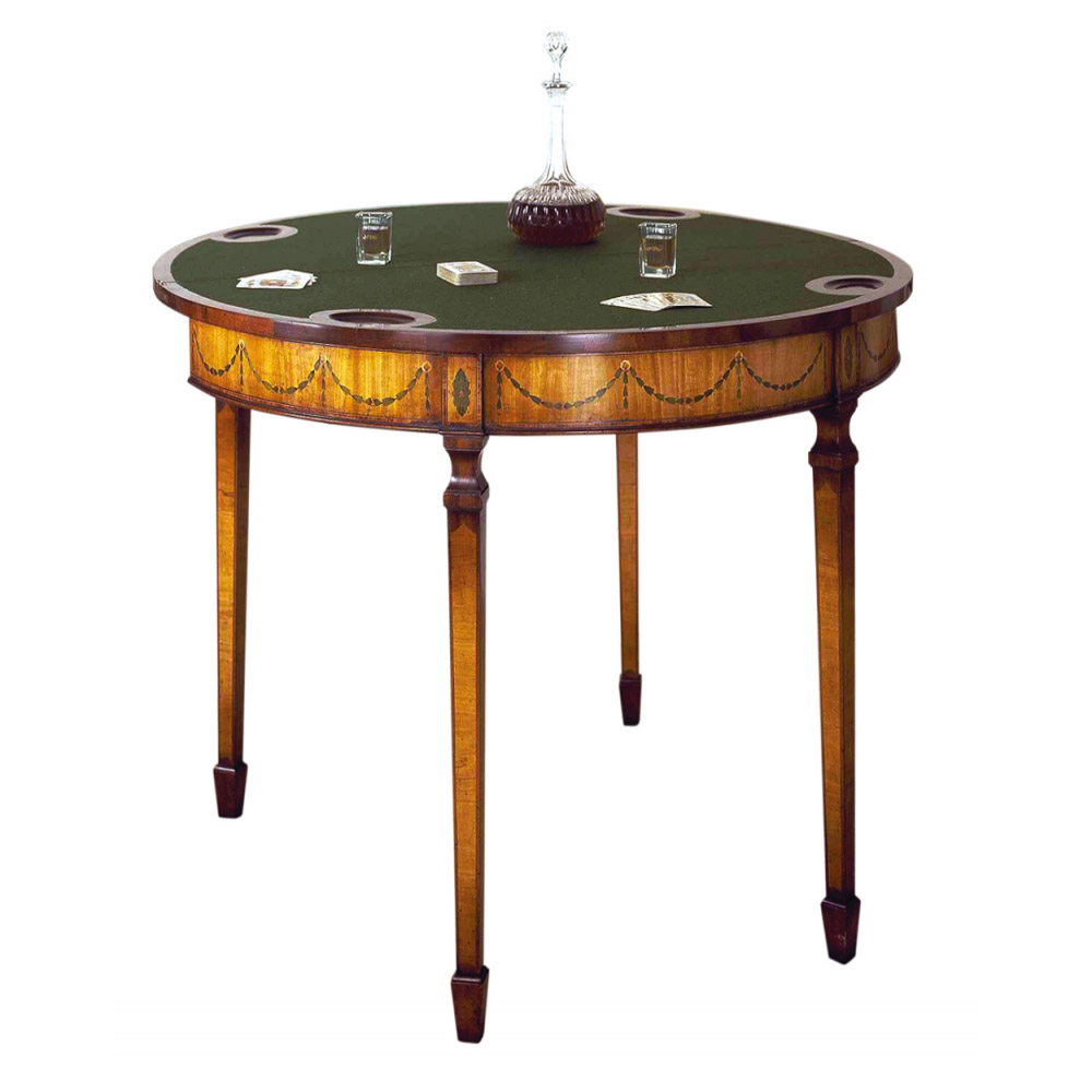 Mahogany & Satinwood Marquetry Games Console