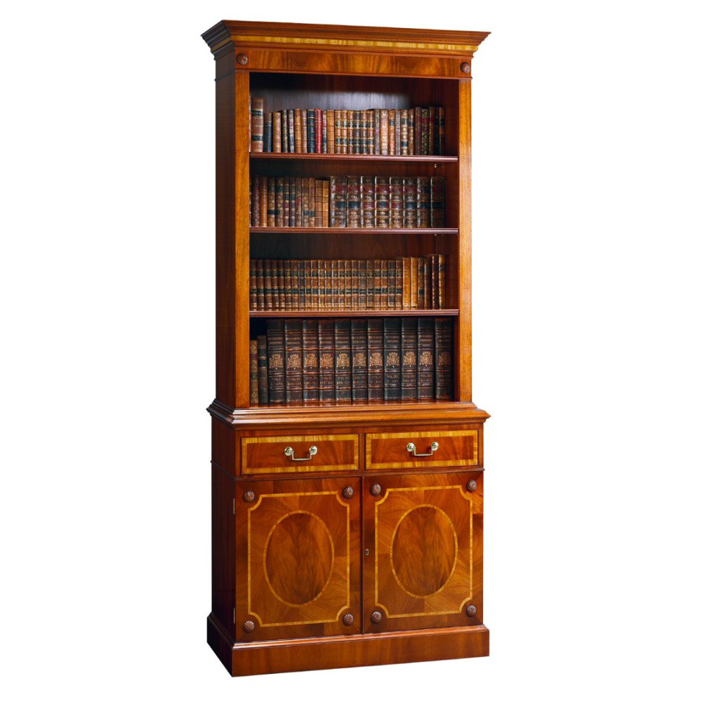 Mahogany Library Bookcase with Fine Satinwood Banding