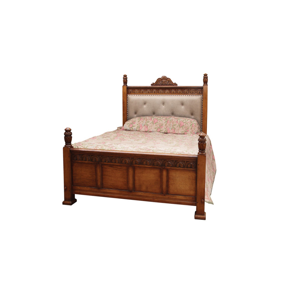 English Oak Jacobean Style Bed