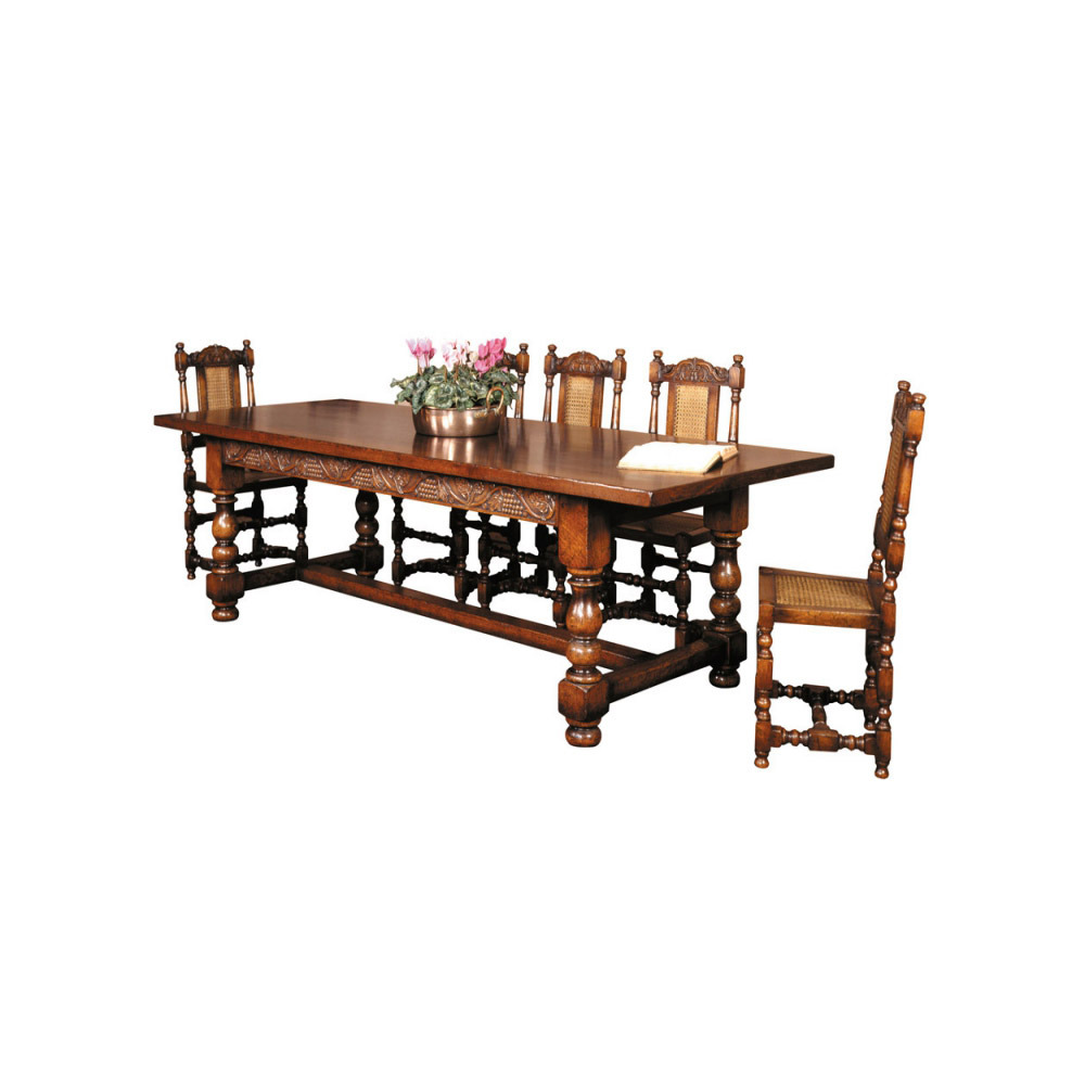 English Oak Refectory Table Grapevine Carving