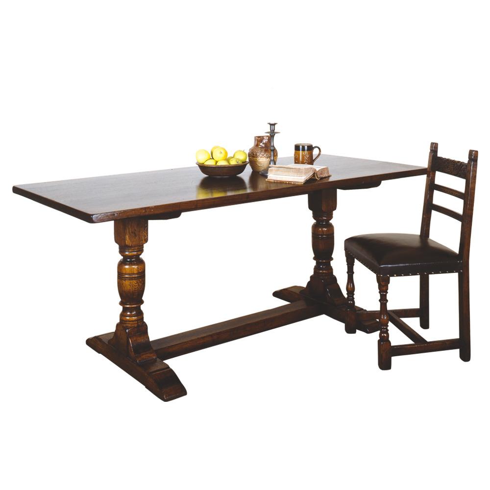 Oak trestle table dining