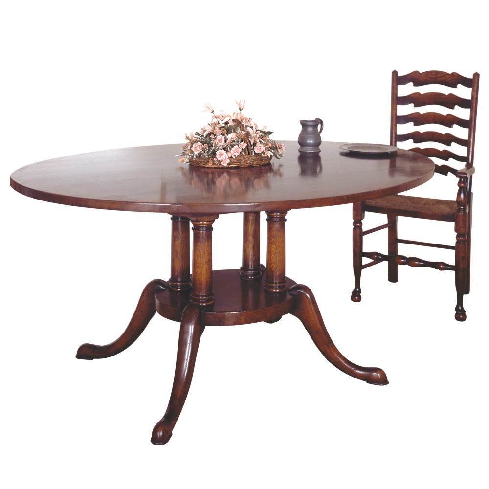 English Oak Oval Dining Table with Platform Base