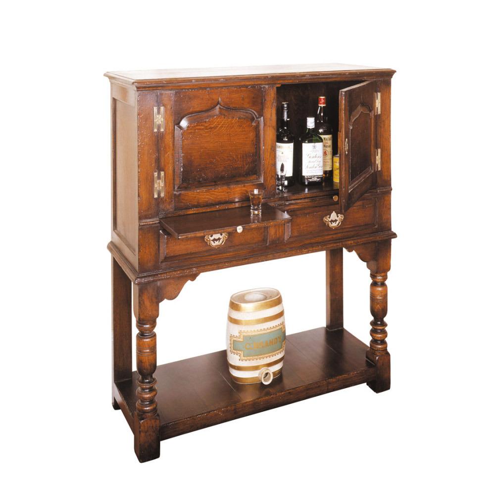 English Oak Wine Cabinet with Slides