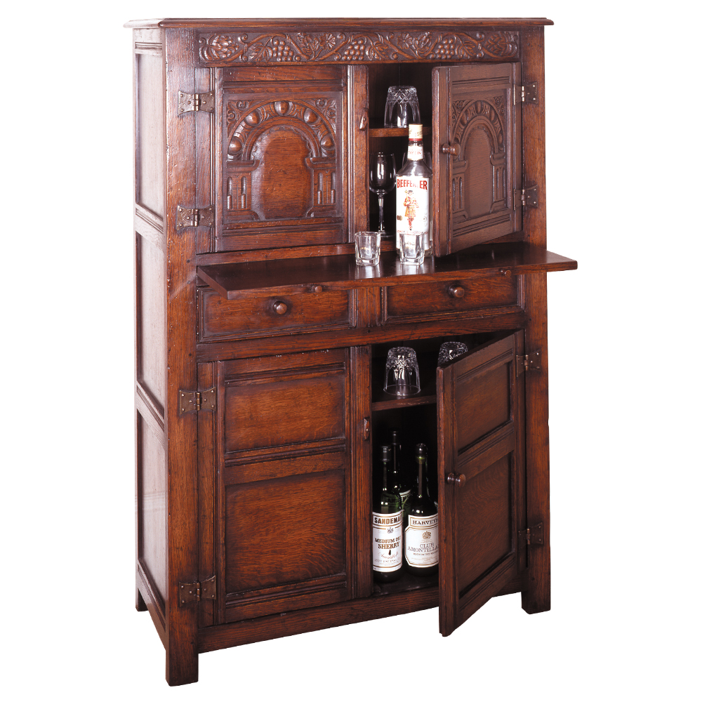 English Oak Wine Cabinet with Slide
