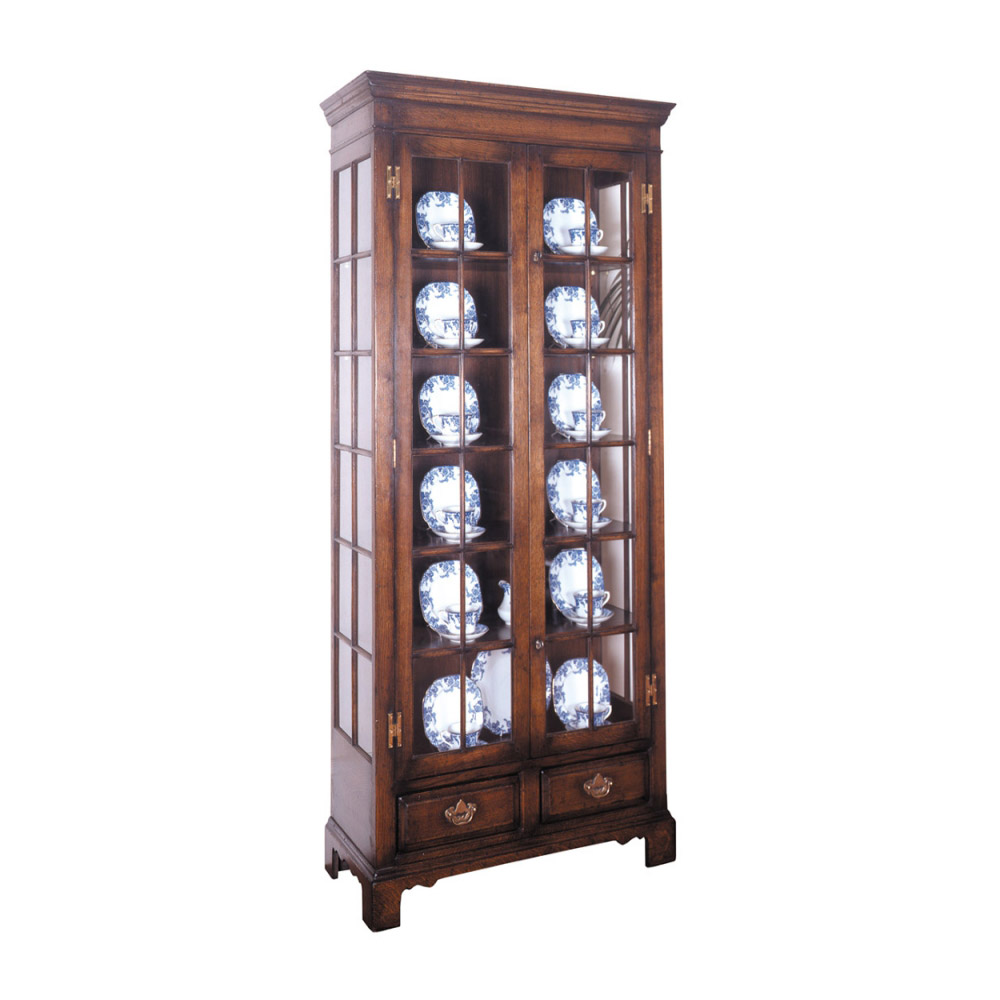 English Oak Display Cabinet with Glass Shelves