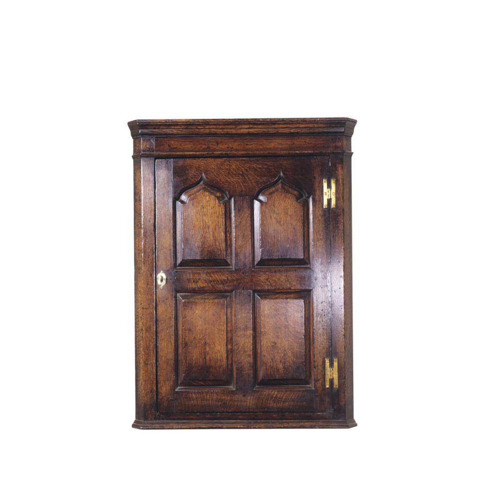 English Oak Hanging Corner Cupboard