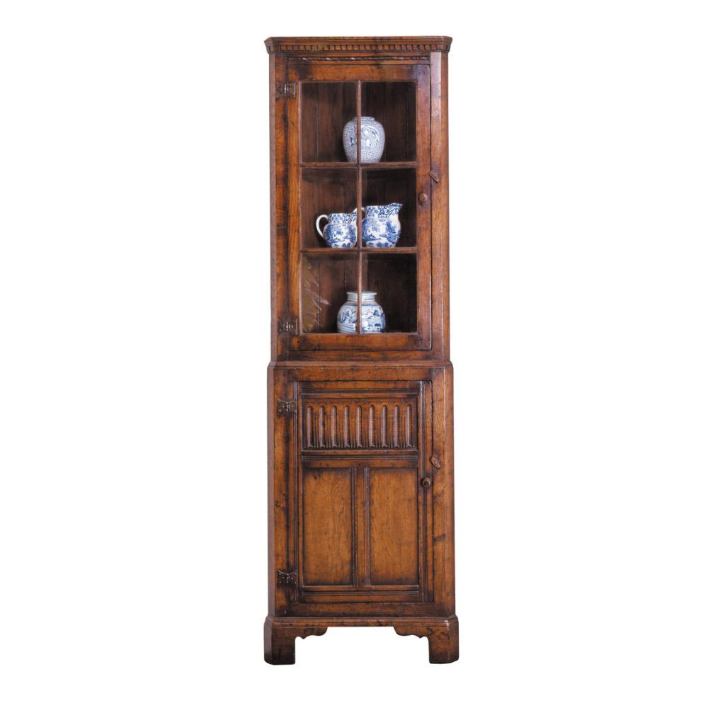 English Oak Corner Cabinet With Glass Doors