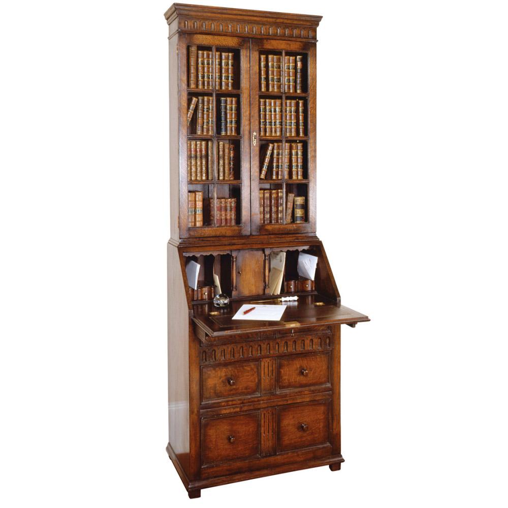 English Oak Bureau Bookcase