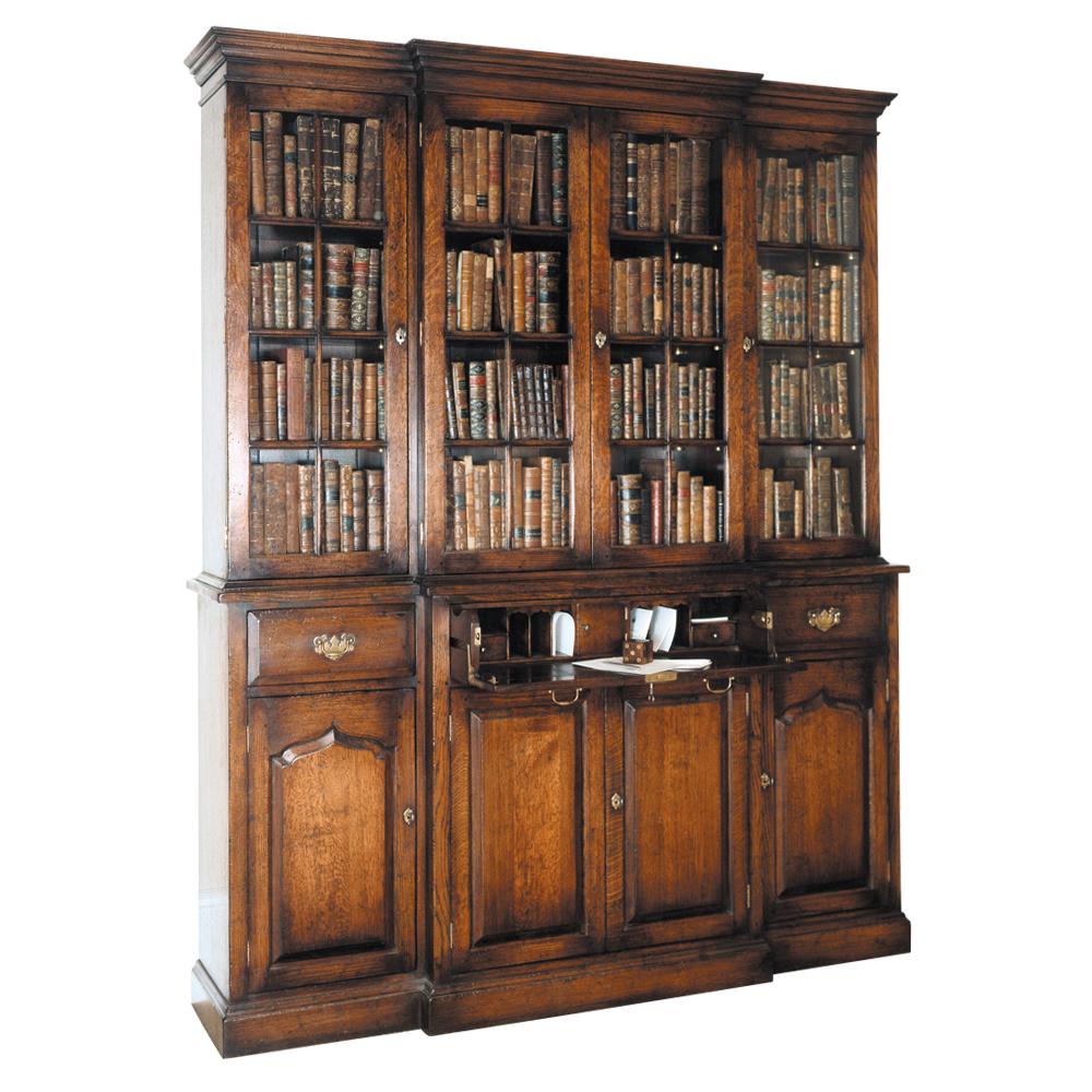 English Oak Breakfront Secretaire Bookcase