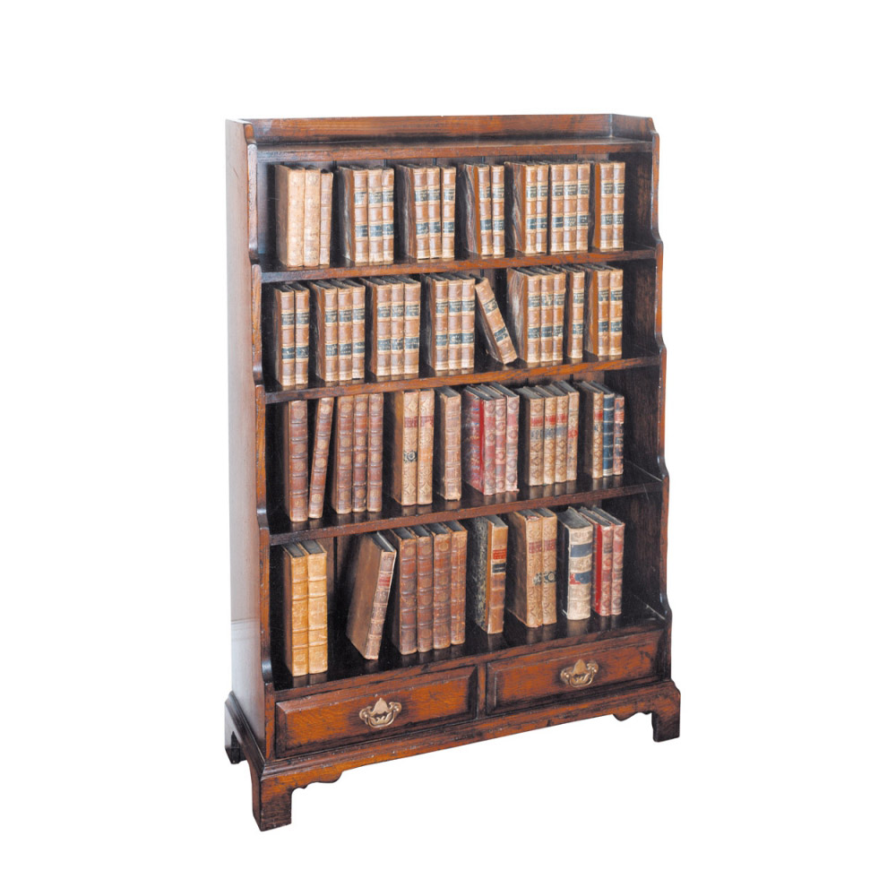 English Oak Waterfall Bookcase