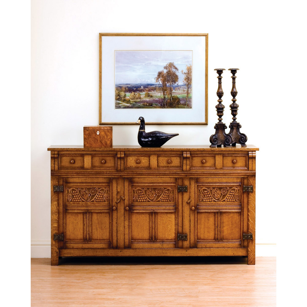 English Oak Sideboard with Grapevine Carving