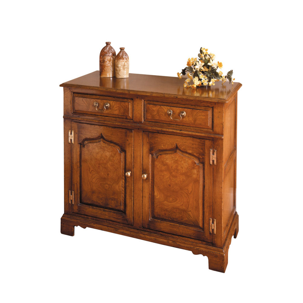 English Oak Dresser Base with Burr Elm Panels