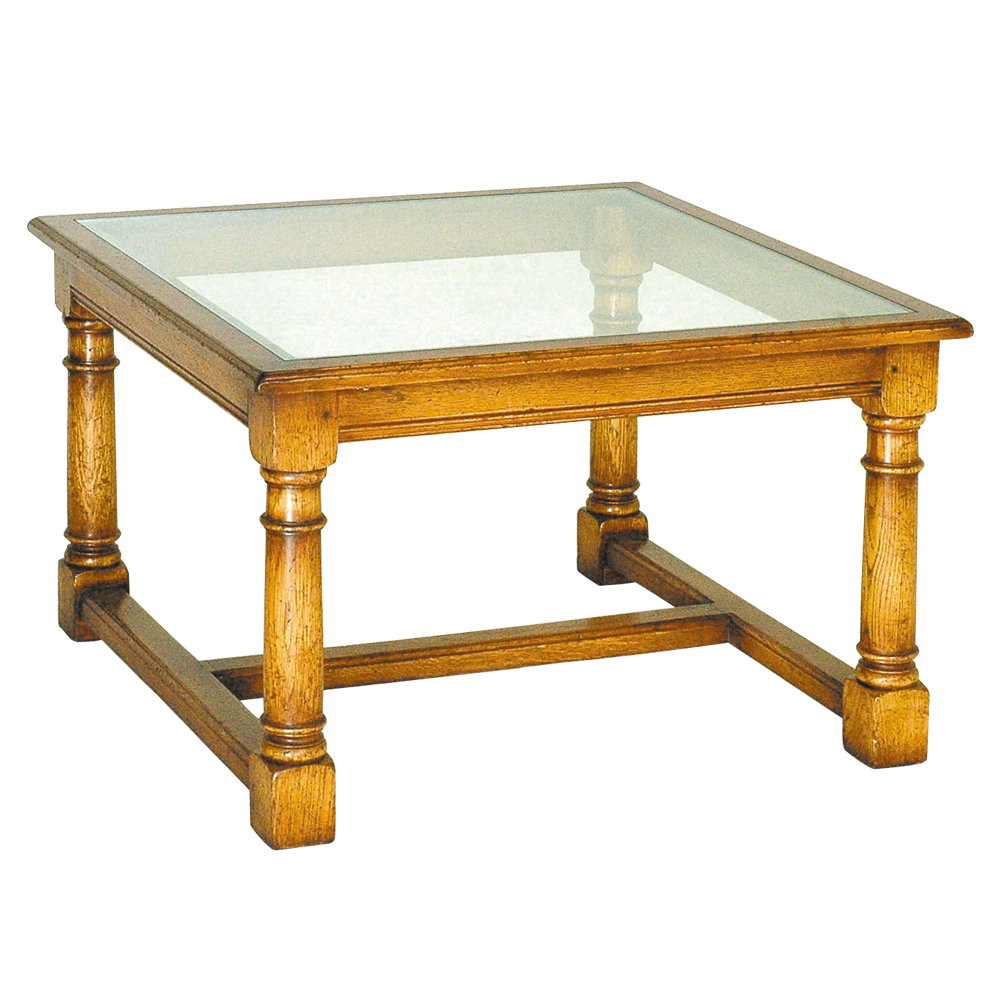 English Oak Coffee Table With Glass Top Titchmarsh Goodwin