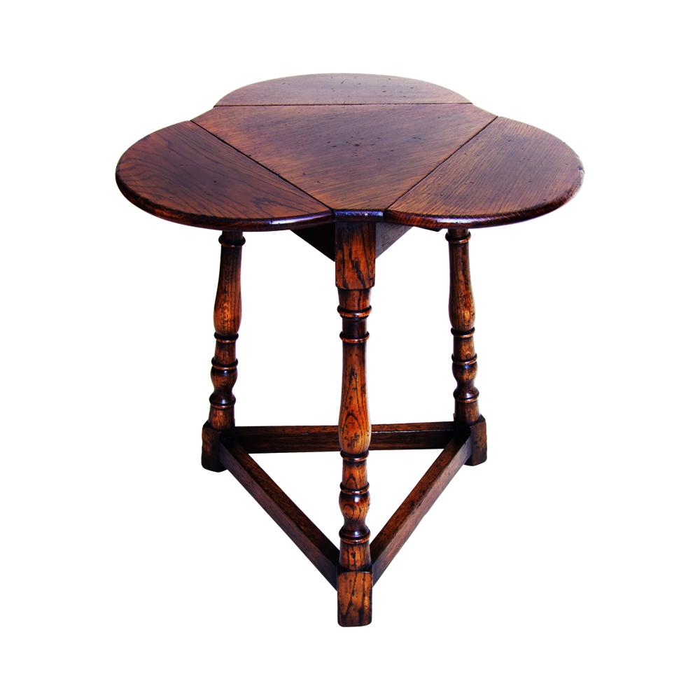 English Oak Folding Trefoil Table