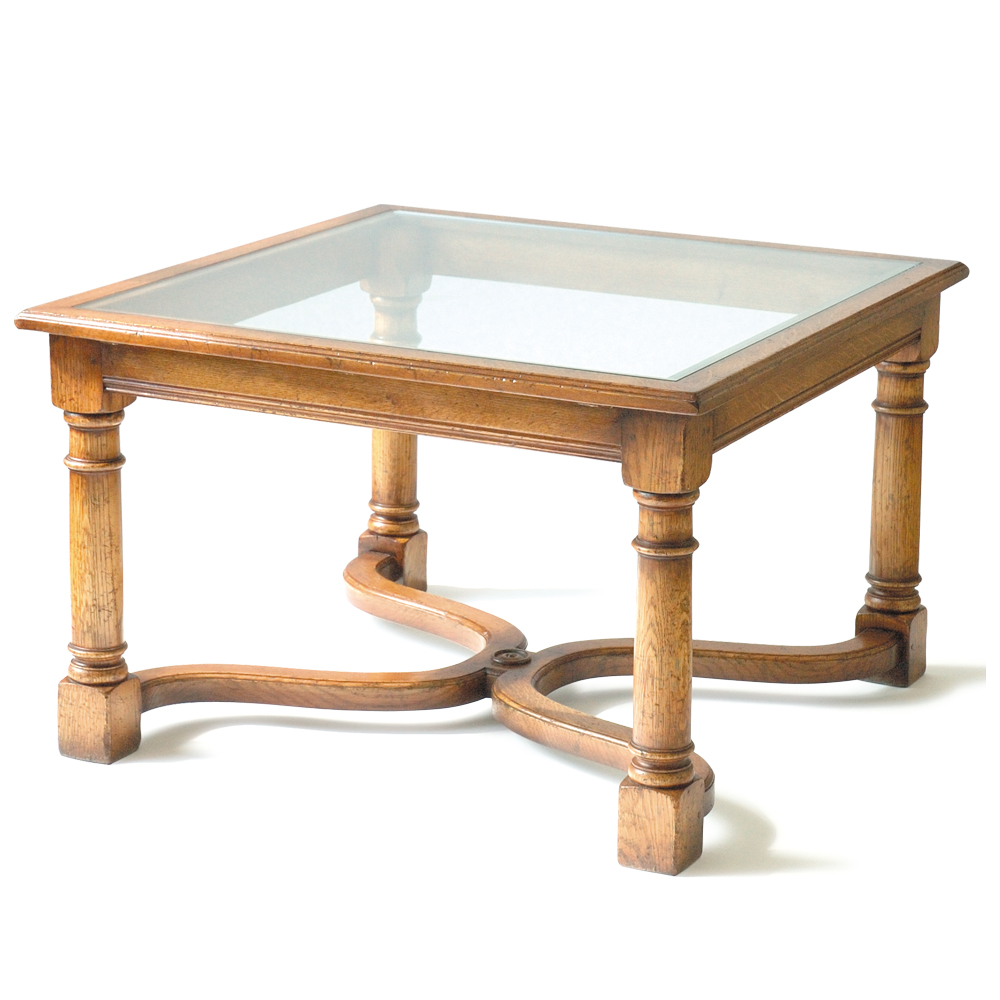 English Oak End Table with Glass Top