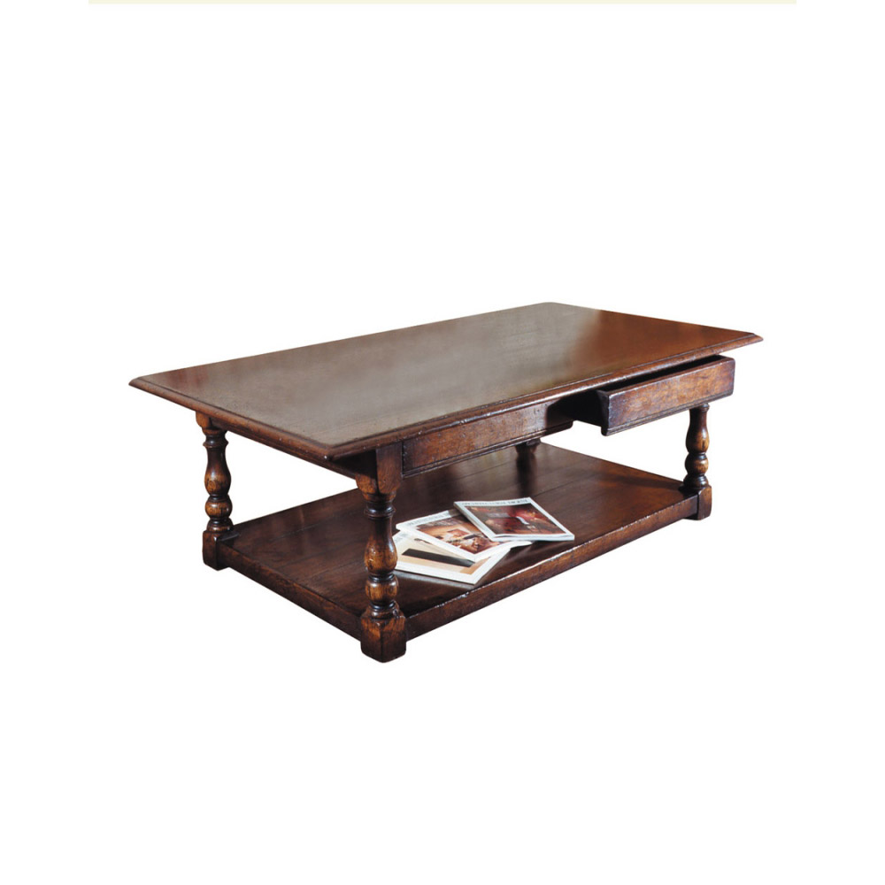 English Oak Coffee Table with Two Drawers