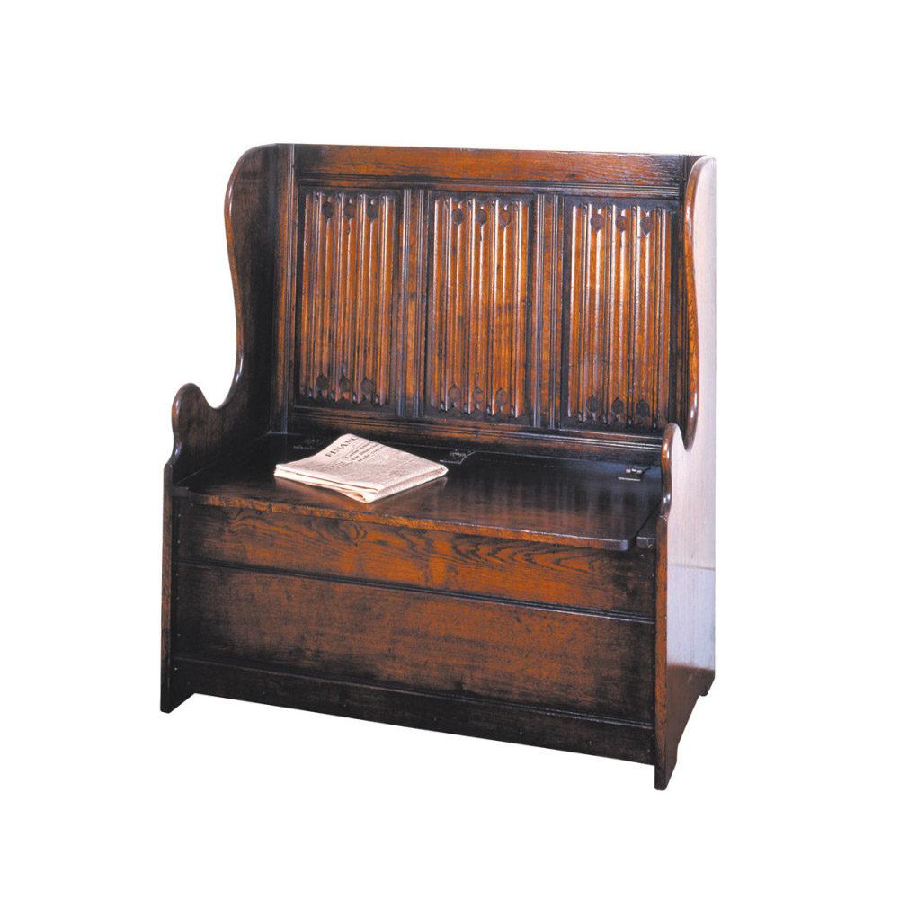 English Oak Box Settle with Linenfold Panels