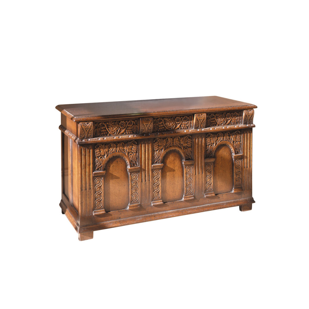 English Oak Coffer with Grapevine Carving