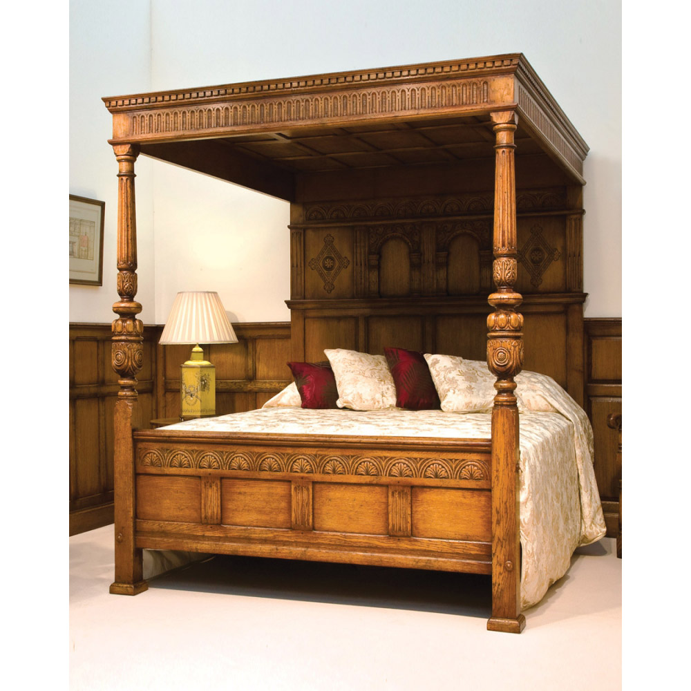 English Oak Magnificent Four Poster Bed Titchmarsh Goodwin