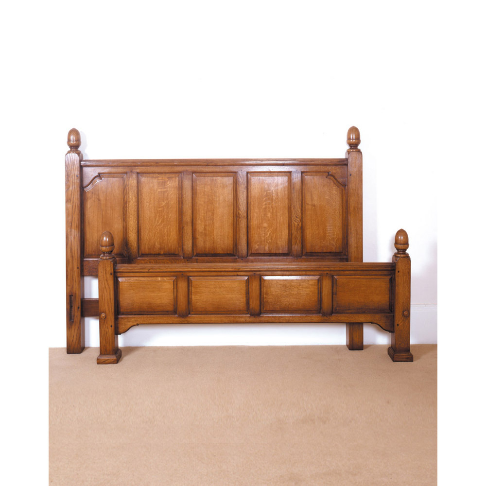 English Oak Bed with Headboard & Foot Ends