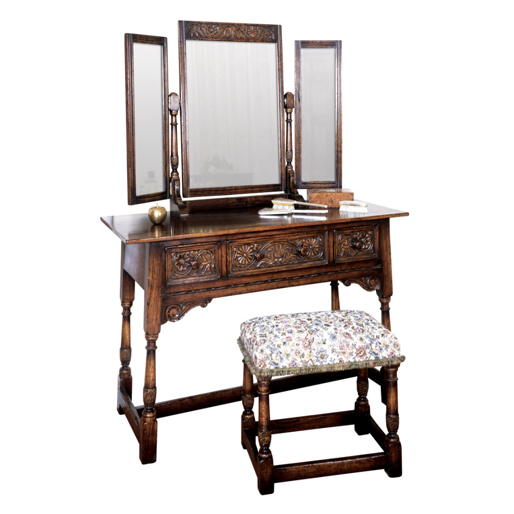 English Oak Dressing Table with Triple Mirror