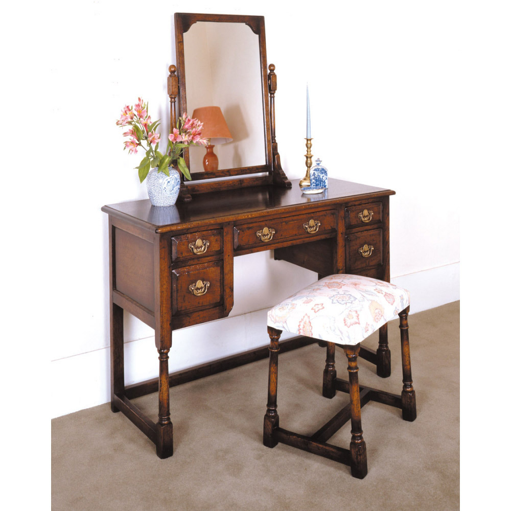 English Oak Dressing Table with Single Mirror