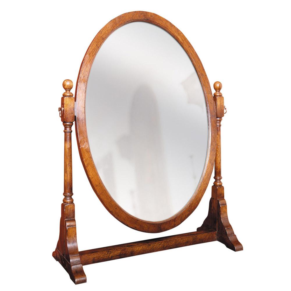 English Oak Oval Toilet Mirror