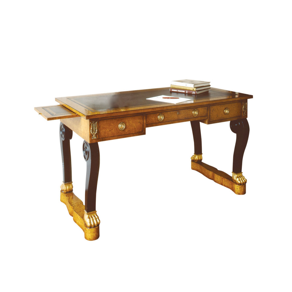 Karelian Birch Empire Writing Table with Slides