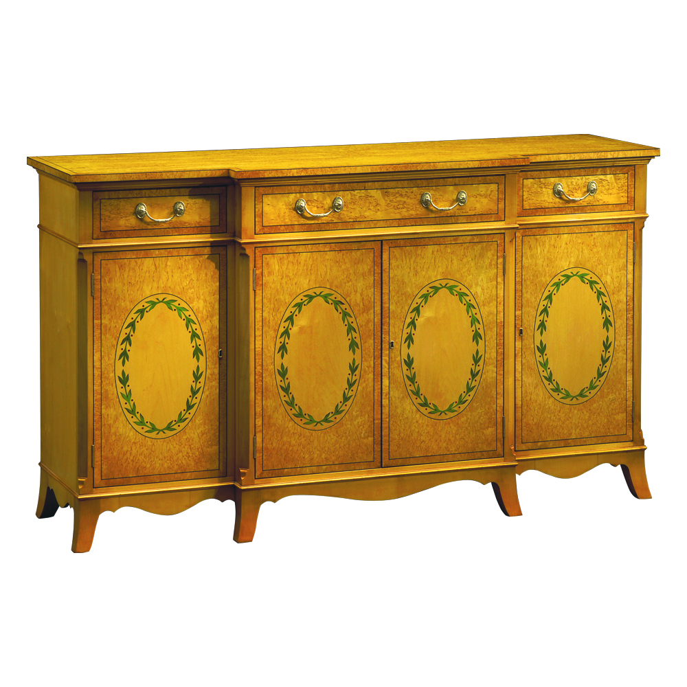Karelian Birch Breakfront Side Cabinet with Marquetry Panels